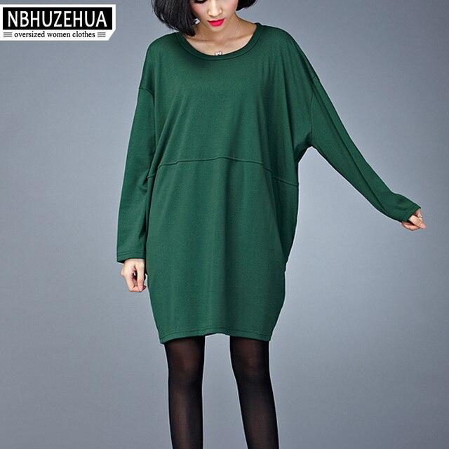 ad1ca0662ba NBHUZEHUA D131 Big Size Women Dress Autumn Korean Style Vintage Dark Green  T Shirt Dress Plus Size Dresses Female