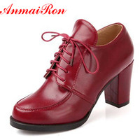 ENMAYER Vintage Sexy Red Bottom Round Toe High Heels Women Pumps Shoes Brand New Design Less