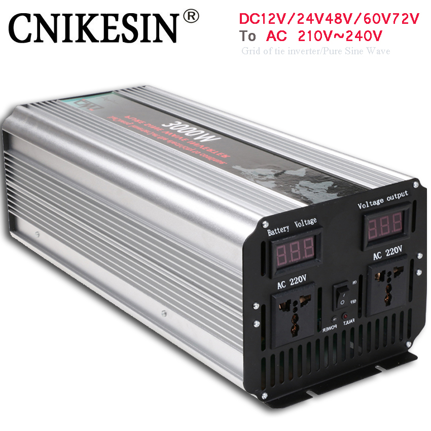цена на 3KW 3000W Frequency inverter 3000W Pure sine wave DC 12/24/48V to AC 110V/220V Grid Tie inverter converter Peak 6000W 50Hz/60Hz.