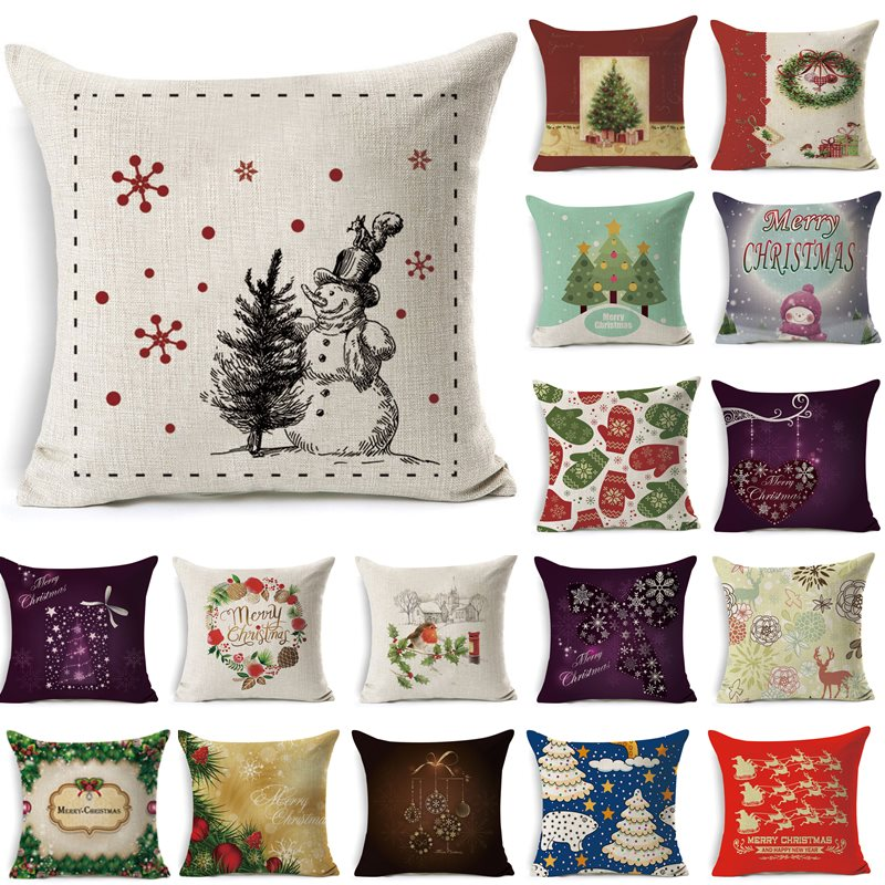 1Pcs 43*43cm Christmas Tree Santa Claus Pattern Cotton Linen Throw Pillow Cushion Cover Car Home Sofa Decorative Pillowcase 011
