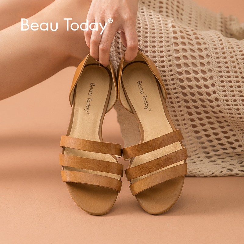 BeauToday Women Sandals Genuine Cow Leather Gladiator Style Cover Heel Slip On Lady Summer Beach Flats