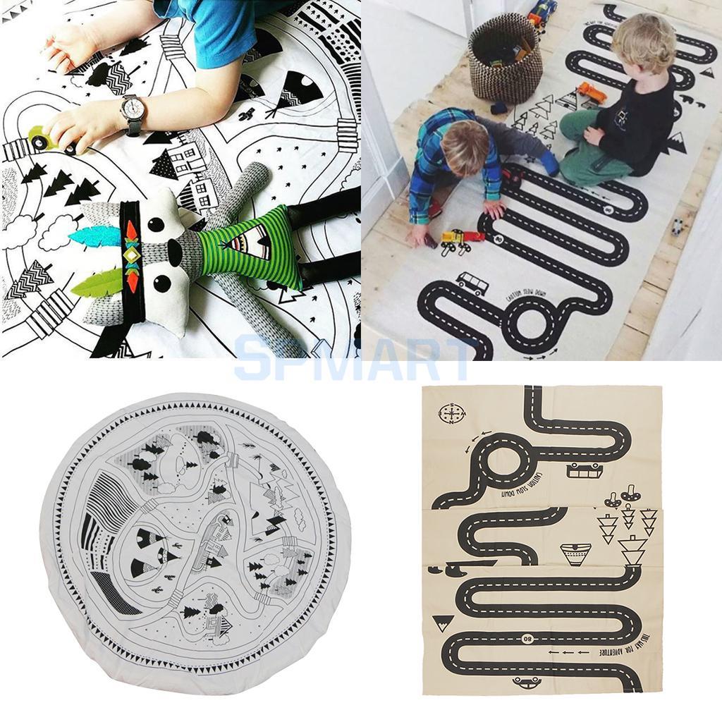 Set of 2, Car Track Puzzle Rug, Children Baby Play Mat, Baby Nap Mat, Cartoon Games Mat, Toddler Crawl Pads Mats, Portable