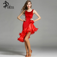 Latin Dance Dress Women Velvet Latin Dance Competition Dresses Ladies Red Salsa Chacha Rumba Samba Standard