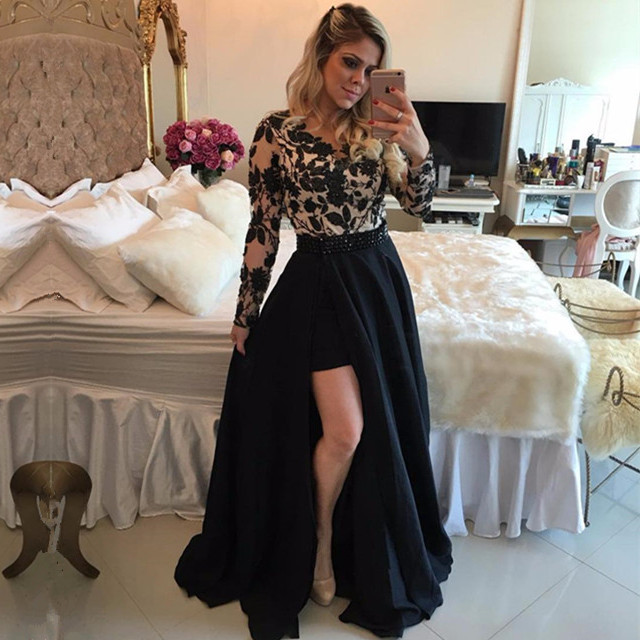 New Elegant Applqiues Lace Long Sleeve Evening Dress Cheap Chiffon Party Gown vestidos de festa longo Платье