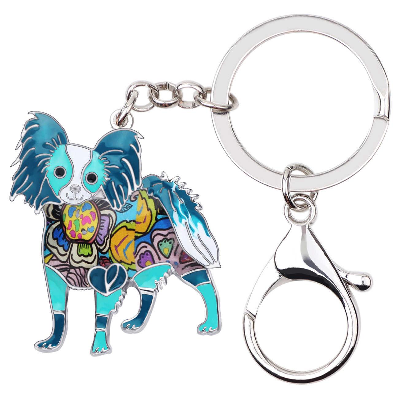 Declaração Esmalte Liga WEVENI Papillon Dog Chaveiros Chaveiros Encantos Pingente Animais Jóias Para Mulheres Meninas Bolsa Carteira Presente