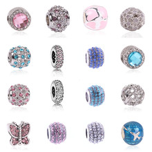 Free Shipping 1pcs Silver Color Charm and European Crystal Heart Fashion Bead Fit Pandora Bracelets & Women DIY Jewelry Gifts
