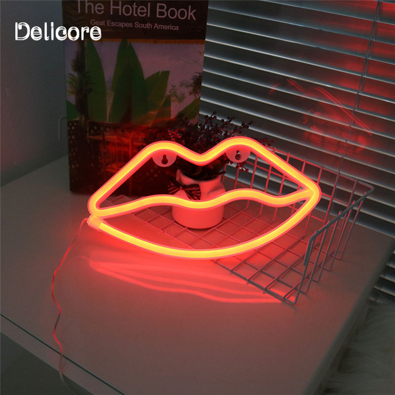 DELICORE Holiday Decor Neon Night Light Lips Shaped LED Red Lamp For Baby Bedroom Decoration Wedding Party Decor S210 mipow btl300 creative led light bluetooth aromatherapy flameless candle voice control lamp holiday party decoration gift