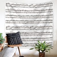 Polyester Home Nordic Style Abstract Printed Musical Note Score Guitar Wall Tapestry Cartoon Decorative Wall Cloth Tapestries