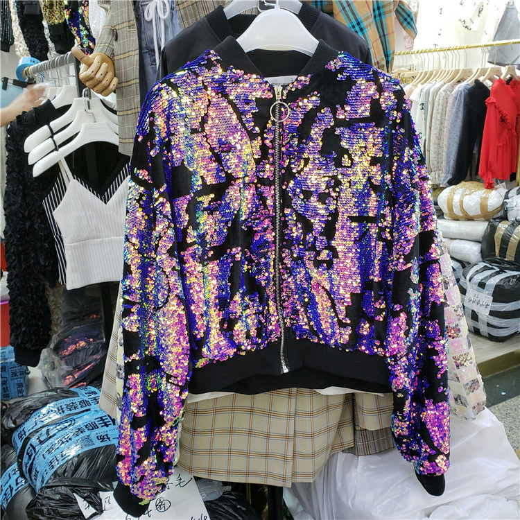 2018 Autumn Women New Fashion Sequins Short Jacket Coat Students Stand Collars Colorful Sequins BF Wind Loose Baseball Coats