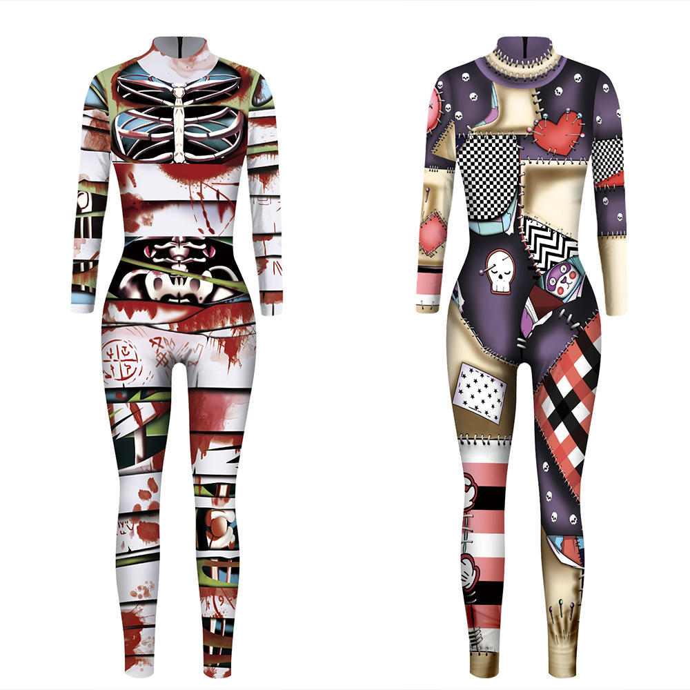 Sexy Bodysuits Halloween Costumes For Women Mummy Doll Digital Printing Jumpsuits Punky Back Zipper Macacao Feminino <font><b>C115</b></font> image