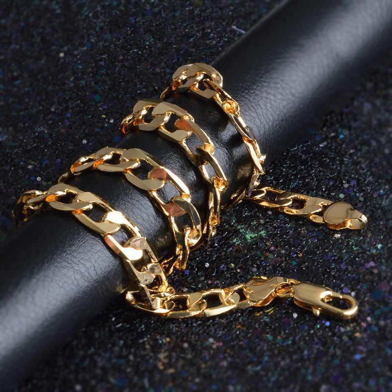 ZORCVENS 2019 nowy 2mm wysokiej jakości złota kolorowy naszyjnik łańcuch Figaro łańcuszki na szyję dla mężczyzn i kobiet złoty łańcuch Link naszyjnik hurtownie