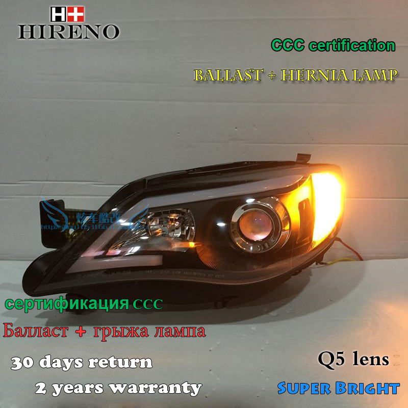 Hireno Headlamp for Subaru Impreza WRX STI Headlight Assembly LED DRL Angel Lens Double Beam HID Xenon 2pcs 02 03 impreza wrx sti gda gdb gen 7 ju headlights eyebrows eyelids