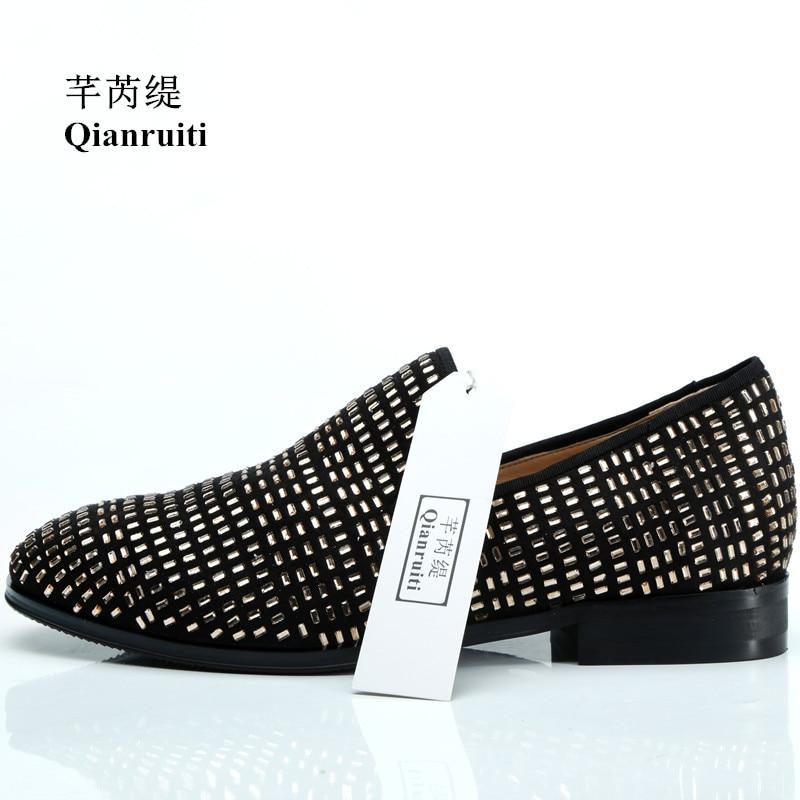 Qianruiti printemps hommes troupeau chaussures goujons dorés sans lacet hommes chaussures de bal de mariage Vintage Style mâle chaussures décontractées pour hommes EU39-47