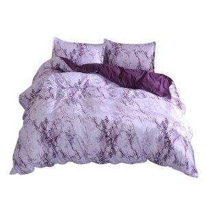 Image 2 - Juego de funda de edredón de mármol simple, funda de edredón doble tamaño King con funda de almohada, tela de microfibra de poliéster, edredón suave de lujo