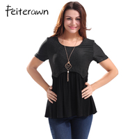 Feiterawn Summer Women Knitted T Shirt Patchwork Pleated T Shirts Blusas Slim Short Sleeve Casual Tops