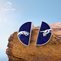 Lotus Fun Real 925 Sterling Silver Handmade Natural Lapis Lazuli Fine Jewelry Hand of God from The Creation of Adam Stud Earring