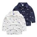 O menino t-shirt de manga comprida 2017 anos novos das crianças com a índia vela lapela polo camisa do bebê coreano longa t