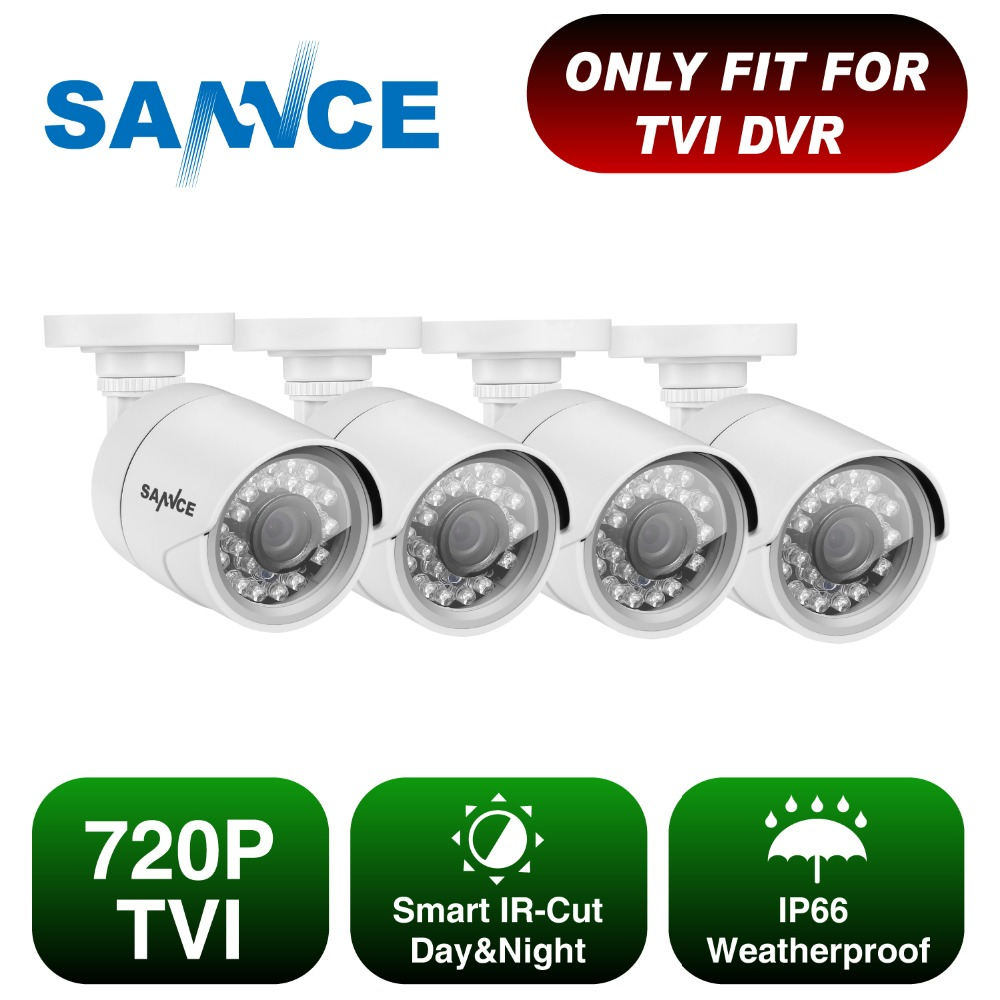 SANNCE AHD 720P 4PCS 1200TVL Bullet CCTV Camera Suite 1 0MP Waterproof IR Cut Night Vision