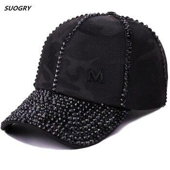 High Quality Women Brand Baseball Cap New Fashion Rhinestone Crystal Camo Snapback Caps Wholesale Woman Hip Hop Snapbacks Hats