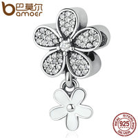 BAMOER 925 Sterling Silver Dazzling Daisy Duo White Enamel Clear CZ Pendant Charms Fit Bracelets Bangles