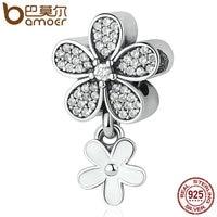 BAMOER 925 Sterling Silver Dazzling Daisy Duo White Enamel Clear CZ Pendant Charms Fit Bracelets Bangles
