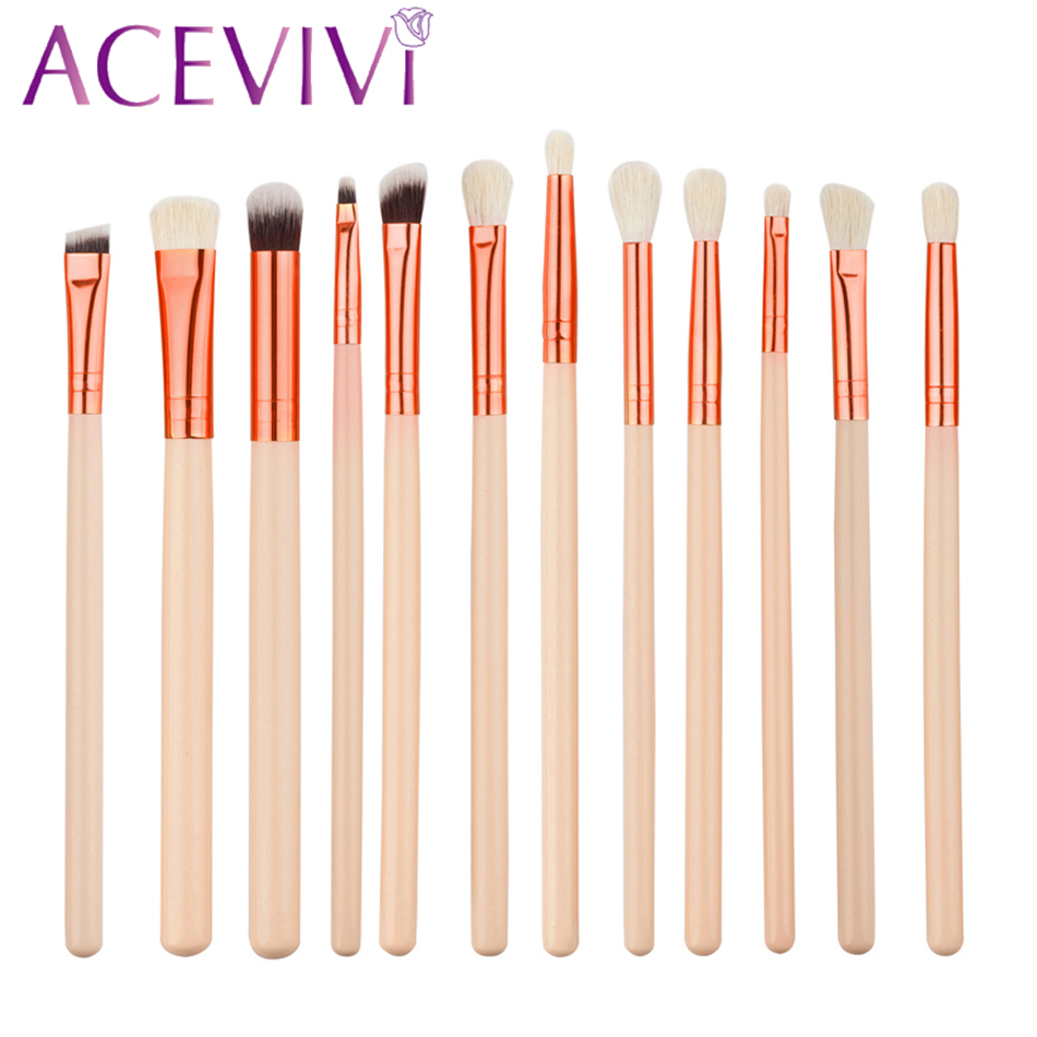 ACEVIVI Professional 12pcs Makeup Brushes Rose Gold Cosmetic Powder Brush Contour High-light Eyebrow Eyeshadow Make Up Set Tools 15cs rose golden makeup brush set professional foundation powder eyebrow make up brushes luxury cosmetic tools kits os0620