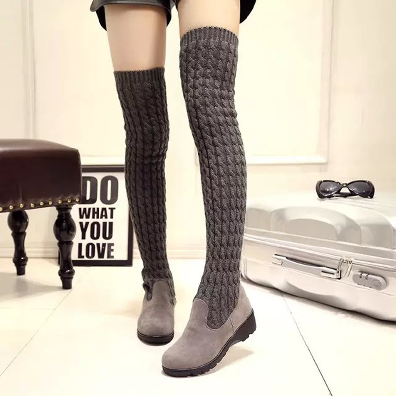 ФОТО Women Boots 2017 Autumn Winter Ladies Fashion Flat Bottom Boots Shoes Over The Knee Thigh High Knitting wool Long Brand Boots