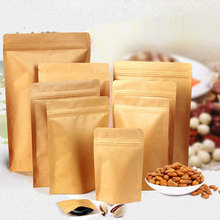 50pcs/Lot New Self-Seal Adhesive Food Bag Storage Kraft Paper Material Ziplock Bags Plastic Packaging Stand-Up Pouch