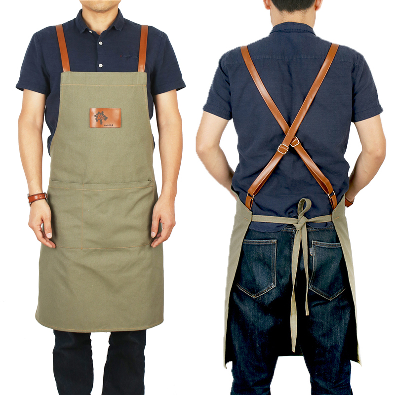 2019 BBQ Cotton Canvas Apron Bib Leather Straps Chef Kitchen Apron for Women Men Pockets barber