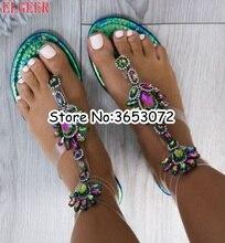 Metálico claro Correa Rhinestone gladiador sandalias PVC cristal transparente señora tobillo Wrap pisos sandalias flip-flops Zapatos mujer
