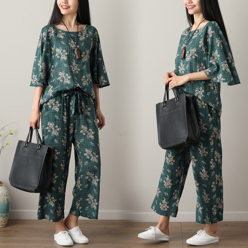 Summer Printed Cotton Linen Two Piece Sets Women Batwing Sleeve Tops And Wide Leg Pants Sets Suits Casual Loose Vintag Sets 2019 46