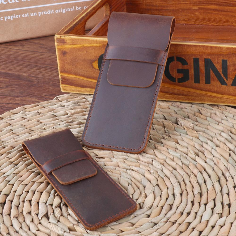 Leather Pen Holder Brown Fountain Pen Pouch Pencil Holder Handmade Ballpoint Pen Protective Sleeve Cover For Office College Univ 2
