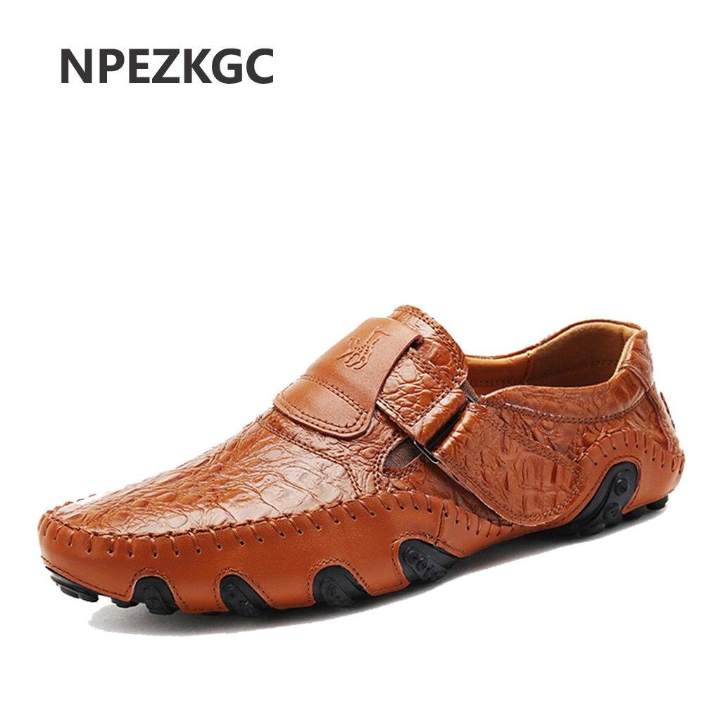 Npezkgc ручной работы Пояса из натуральной кожи Мужская обувь на плоской подошве Повседневное Элитный бренд мужские лоферы удобная мягкая обу...