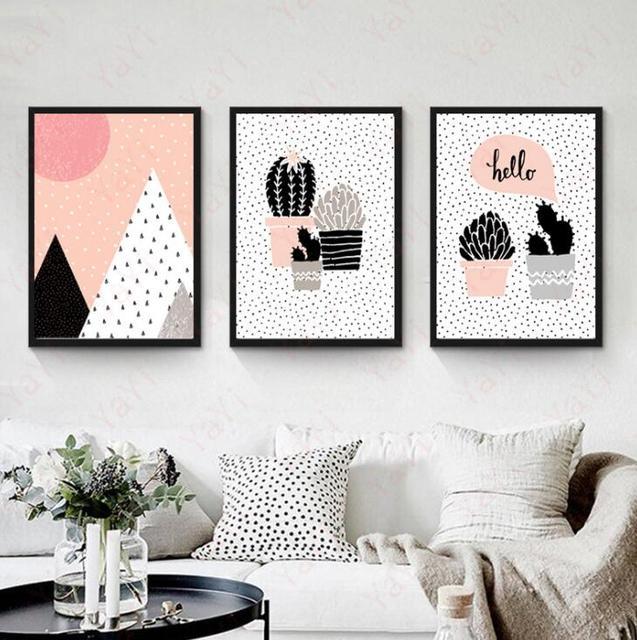 US $5.0 |The cartoon children bedroom wall cactus decorative painting  corridor murals Lovely Polka Dot Pink cactus frameless painting-in Painting  & ...