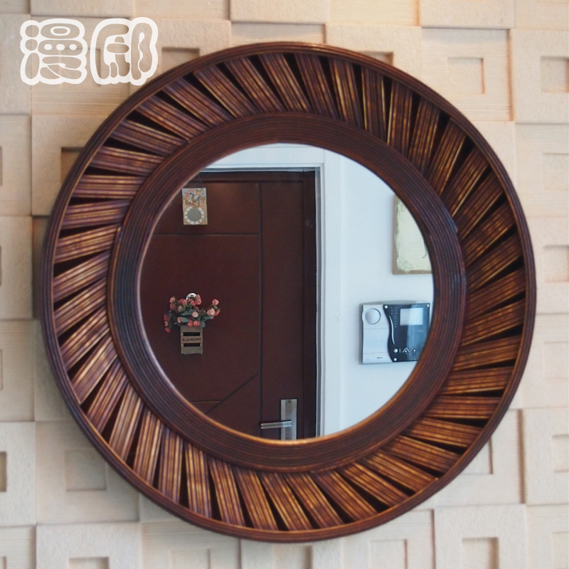 Kingart antiguo bambú y madera Marcos pared espejo redondo salón ...