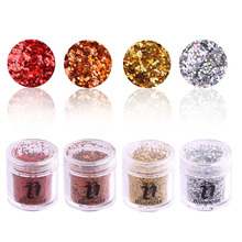 4Bottle/Set 1 mm 3D Shine Colorful Nail Art DIY Decorations Glitter Beauty Acrylic Gel Polish UV Powder For Nail BG122-125