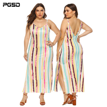 PGSD Summer holiday casual Colour stripe printing Sexy backless Open-forked long Sling female Dress Big size women clothes 4XL