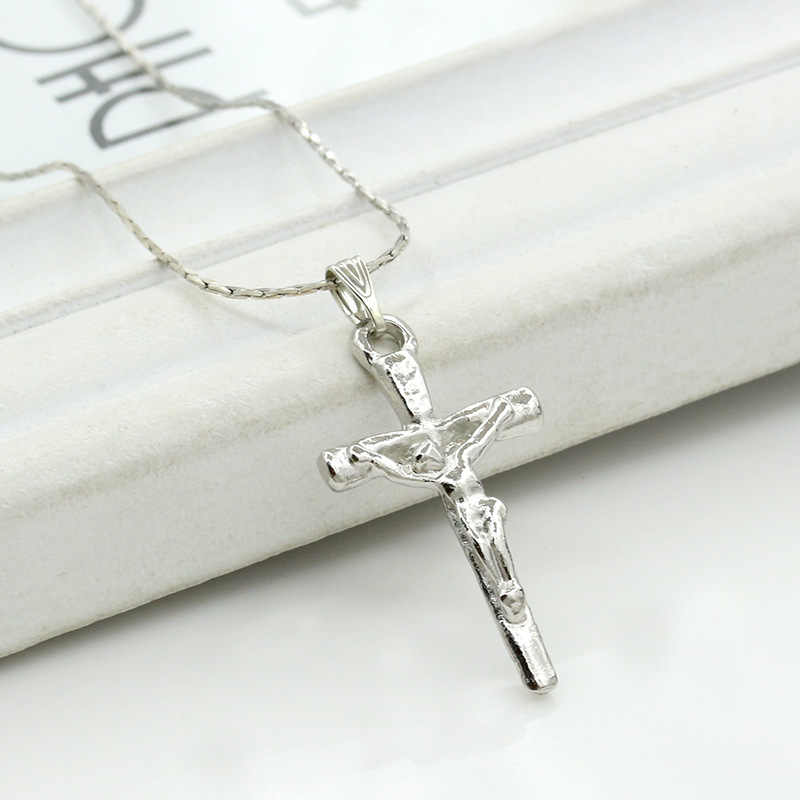 Jesus Cross Silver Pendant Catholicism Christianity Necklace for Women Men