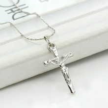 Jesus Cross Silver Pendant Catholicism Christianity Necklace for Women Men(China)