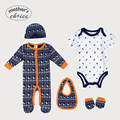 Mother's Choice 100% cotton Christmas Sets  Baby 5pcs Set of Baby Long and short-sleeve  Rompers, Bib, Beanie, and Booties
