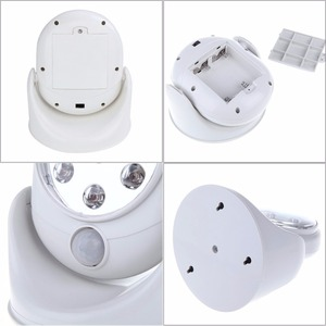 Image 3 - Lámpara de luz con Sensor activado de movimiento inalámbrico, 6V, 7 LED, rotación de 360 grados, lámparas de pared, luces blancas para porche, iluminación interior y exterior