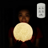 3D Creative Magical Moon LED Night Light Moonlight Desk Lamp USB Rechargeable With Remote Or