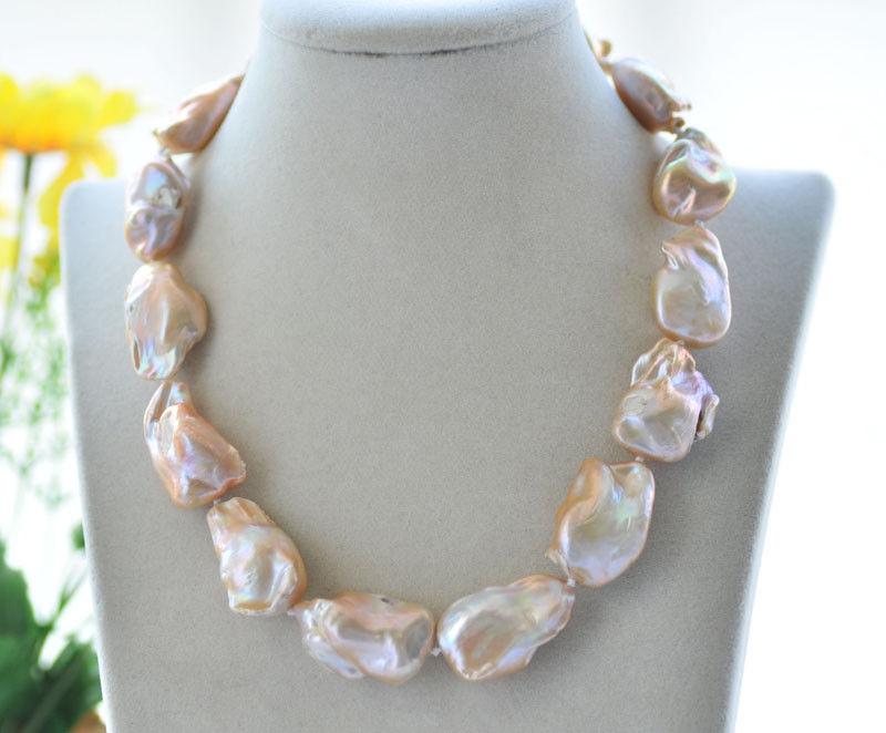 Huge 18 30mm Pink Baroque Keshi Pearl NecklaceHuge 18 30mm Pink Baroque Keshi Pearl Necklace