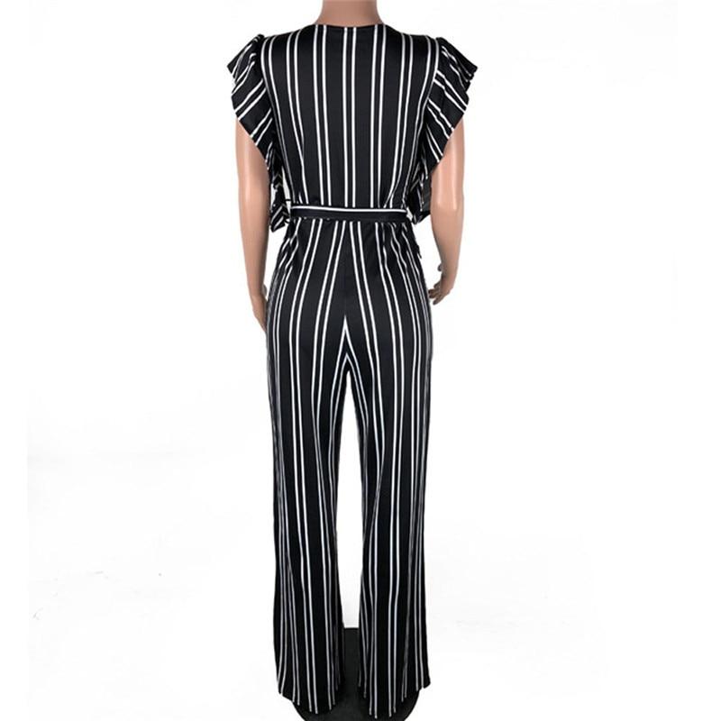 Women Striped Clubwear Playsuit Bodysuit Party Long Pants Jumpsuit Polyester Short Sleeve V Neck Striped jumpsuit #by