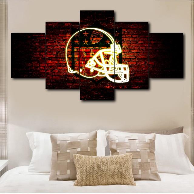 5 pieces Cleveland Browns sport logo decorative poster wall modular ...