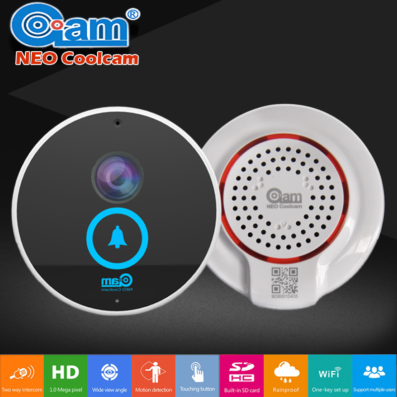 Neo coolcam puerta Bell video kits Audio bidireccional 720 p HD construido en 8 GB tarjeta impermeable pantalla táctil interior mini altavoz