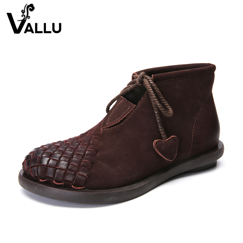 New Arrival Genuine Leather Short Boots Ladies 2018 Woven Women Shoes Lace-Up Handmade Vintage Women Ankle Boots