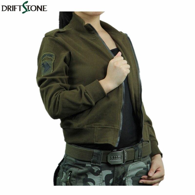 Women Army Green Tops Tees Long Sleeve Women T Shirt Spring Cotton Stand T Shirts Military Slim Casual Shirt