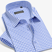 Summer 2017 Men S Short Sleeve Vertical Plaid Dress Shirts Square Collar Slim Fit Breathable Bamboo