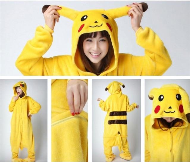 2016 Adult Animal Onesie yellow Pikachu Cosplay Costume Pokemon Pajamas  Halloween Pyjamas Girls Boys Sleepwear Sleepsuit 6286851cc